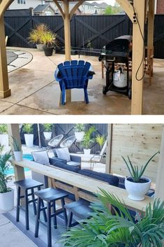 Check out how to make extra seating in a small back yard with this cleaver budget friendly outdoor DIY project. Diy Outdoor Furniture, Outdoor Decor, Hotel Decor, Backyard Makeover, Metal Wall Decor, Diy Patio, Extra Seating, Cozy House, Outdoor Spaces
