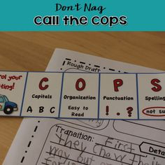 Are you tired of nagging reminding your students again and again (and yet again) to check their writing for capitals, spelling, neatness, and end punctuation? If you are – CALL THE COPS! Use the COPS to help your little. Editing Writing, Writing Lessons, Writing Process, Writing Resources, Teaching Writing, Writing Activities, Learning Resources, Writing Tips, Teacher Resources