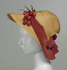 "MFA, 99.664.108. Woman's hat, American, 1860s. Lexington, Massachusetts. ""Braided straw, silk velvet, and lacquer, wire, and paper faux cherries."""