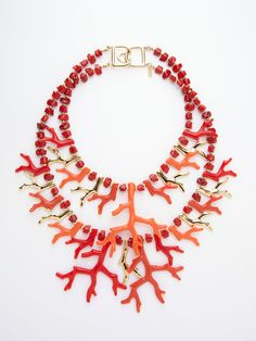 Coral Double Strand Necklace by Kenneth Jay Lane on Gilt.com