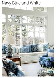 create a blue & white living room | white living rooms, living
