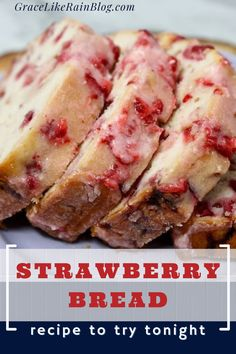Bread Machine Recipes, Quick Bread Recipes, Easy Bread, Cooking Recipes, Easy Recipes, Strawberry Bread Recipes, Strawberry Glaze, Brunch Recipes, Dessert Recipes