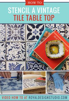 Learn how to paint and stencil an indigo blue vintage tile table top with Annie Sloan Chalk Paint and Craqueleur for your next DIY home decor project!