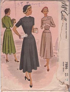 McCall's 7886 Vintage 40's Sewing Pattern CAPTIVATING Scalloped Yoke & Hip Lucy Afternoon Day Dress, Cocktail Gown #MOMSPatterns