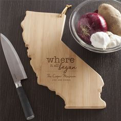 CALIFORNIA Made of premium quality bamboo a renewable resource Bamboo is harder and denser than most woods No artificial stains or dyes used and finely sanded for a smooth surface Cutting boards are designed in the shape of the state Approximate W x L x H Personalized Cheese Board, Personalized Cutting Board, Personalized Wedding Gifts, Engraved Cutting Board, Wood Cutting Boards, Bamboo Cutting Board, Unique Housewarming Gifts, Old Apartments, Small Candles