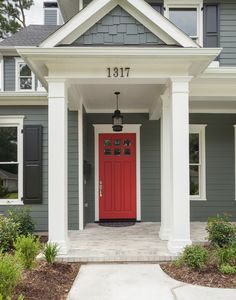 IDEA:  Front porch with square columns and hybrid colonial/craftsman door.