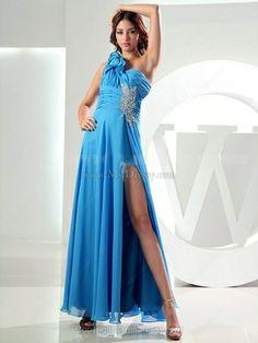 A-line One Shoulder Chiffon Ankle-length Split Front Prom Dresses
