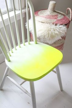 this site has great before and afters. The seat was painted a Neon yellow with a gradual yellow to white.