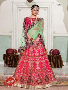Pink & Green Net & Silk Embroidered Lehenga Choli