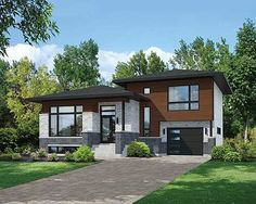 Split Level Contemporary House Plan - 80789PM | Contemporary, Modern, Canadian, Metric, Narrow Lot, 1st Floor Master Suite, 2nd Floor Master Suite, CAD Available, PDF, Split Level | Architectural Designs More