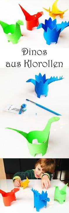 Dinos basteln mit Kindern. Dinosaurier aus Klorollen Klopapierrollen Papprollen