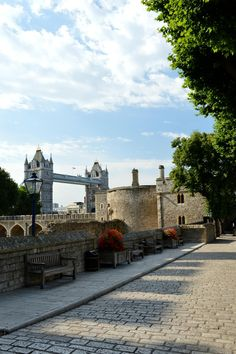 View of Tower Bridge from a quiet corner in the Tower of London