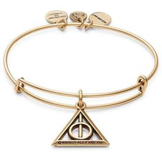 Alex and Ani Harry Potter Deathly Hallows Charm Bracelet ($28) ❤ liked on Polyvore featuring jewelry, bracelets, gold, pendant charms, alex and ani bangles, alex and ani, charm pendants and charm bracelet jewelry