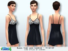 simromi's Black Vine Lace Chemise AF