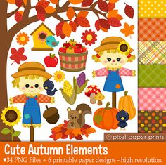 Items similar to Cute Autumn Elements - Fall Clipart - Clip Art and Digital paper set on Etsy Photoshop Elements, Project Yourself, Print And Cut, Art Images, Party Supplies, Wonderland, Creations, Greeting Cards, Scrapbook