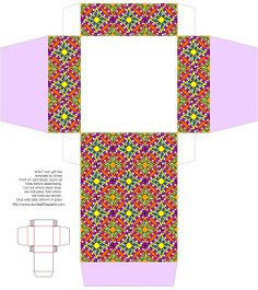 3x3x1 inch all occasion printable gift box with a colorful geometric pattern