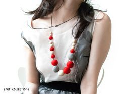 Red for Valentines! Felt Ball Necklace. Red Necklace. Grey by StefCollections on Etsy, $24.99