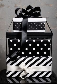 Gift Wrap ~ Black and White, Polka Dots and Stripes