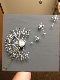 dandelion string art- There are many artists to use as examples for this project, but encourage the students to start with something simple first, or they might get too frustrated.