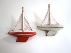 Beautiful vintage wooden toy sail boats from by vintageekho, €25.00