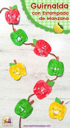 Guirnalda con Estampado de Manzana - Manualidad - Tea Time Monkeys Fruits And Vegetables Pictures, Vegetable Pictures, Preschool Crafts, Preschool Activities, Crafts For Kids, Educational Activities, Apple Garland, Jewish Crafts, Cute Fruit