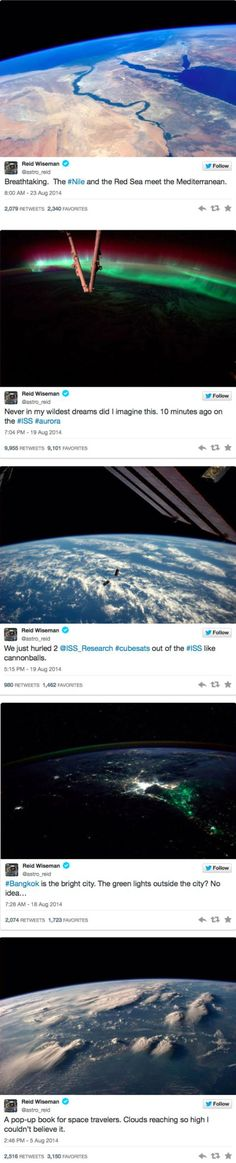 Life on the International Space Station. Reid Wiseman's Twitter is seriously one of the coolest accounts I followed last year.