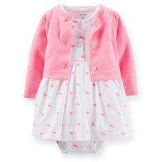 Amazon.com: Carter's Baby Girls 2-piece Bodysuit & Cardigan Dress Set (3 Months, Pink Flamingo): Clothing