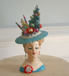 Image of Vintage Head Vase Ready for Christmas