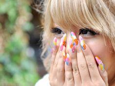 Multi-coloured nails Rainbow Nails, Nail Colors, Nail Art, Engagement, Colourful Nails, Beauty, Nail Arts, Engagements, Beauty Illustration