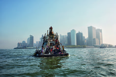 The raft Alice rounding the southern tip of Manhattan, 2008