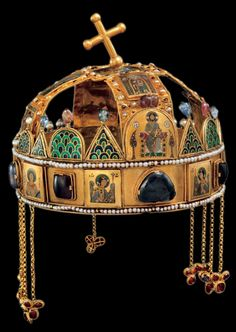 "The Holy Crown of Hungary is composed of two parts, including a Byzantine crown known as the ""Corona Graeca"". Royal Crowns, Crown Royal, Tiaras And Crowns, Hungary History, Saint Stephen, Byzantine Art, Byzantine Mosaics, Royal Jewelry, Jewellery"