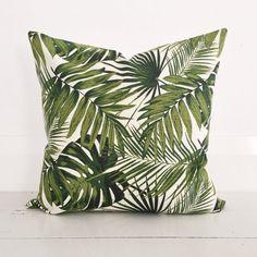 Palm leaves & natural linen cushion cover - designer cushion 50 x 50 cm - FREE SHIPPING Australia wide