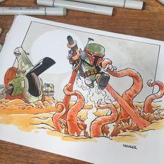 "6,098 Me gusta, 34 comentarios - @briankesinger en Instagram: ""Color commission of #bobafett battling the almighty sarlacc. #copicmarkers #starwars #bobafettlives"""