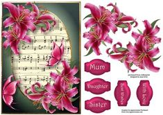 Hot Pink Lilies Butterflies on Craftsuprint designed by Anne Lever - This lovely topper features gorgeous hot pink lilies and butterflies with a sheet music background. It has decoupage and five greetings.  - Now available for download!