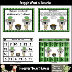 Here's a Bump game for practicing addition with three addends with a St. Patrick's Day theme.