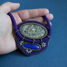 Night Moon Flowers. Bead embroidery pendant by CrazywoolByElena