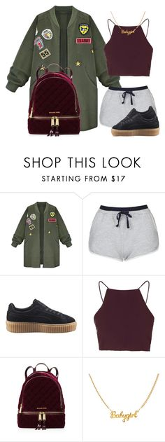 """6lack & Jhene Aiko First F*ck"" by luhariiee ❤ liked on Polyvore featuring WithChic, Topshop, Puma and MICHAEL Michael Kors"