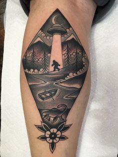 UFO Sasquatch & Loch Ness Monster by Silje Hagland done at Scapegoat tattoo in Portland, Oregon