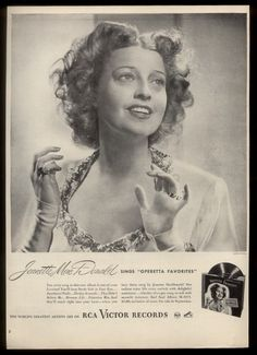 Jeanette MacDonald 1946 RCA Vintage ad