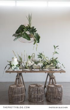 A Fresh Start: Glorious Green Bridal Inspiration | Wedding Table Inspiration | Photographs by BlueCheri Photography