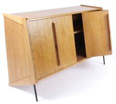 Claude Vassal; Oak and Enameled Metal Buffet, c1950.