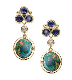 Clair Classic Drop Earring with Lightning Ridge black opal, blue sapphire granulation and diamonds. Jewelry Design Earrings, Opal Jewelry, Wedding Jewelry, Opal Earrings, Birthstone Jewelry, Womens Wedding Bands, Wedding Ring Bands, Love Knot Ring, Tungsten Mens Rings