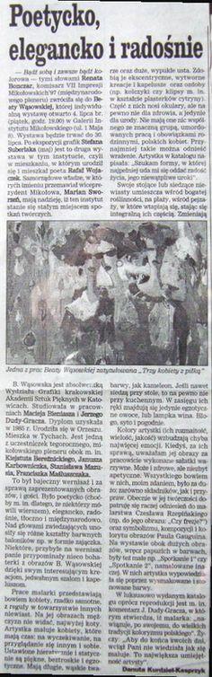 Poetycko, elegancko, radośnie, Dziennik Zachodni [Tyski] | 1997 | Danuta Kurdziel-Kasprzyk | malarstwo Beaty Wąsowskiej