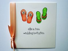Flip Flops Printed Wedding Invitation with Wedding Cake Flavors, Wedding Cakes, Got Married, Getting Married, Wedding Flip Flops, Congratulations To You, Summer Wedding, Wedding Gifts, Wedding Decorations