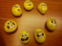 Funny face painted rocks