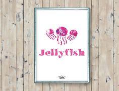 Jellyfish animal printable. Pink surf by KeepMakingSmiles on Etsy