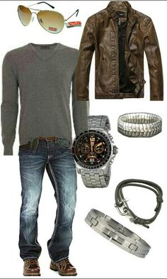 Men's casual outfit. Except different shoes. Your brown boots would be so handsome baby!