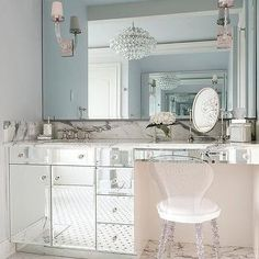Mirrored Make Up Vanity with Lucite Vanity Chair
