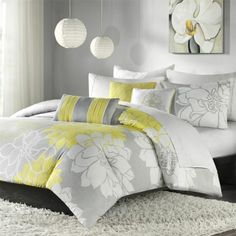 yellow+kimberly+bedding | Amazon.com: Madison Park Lola 6 Piece Printed Duvet Cover  Color combination !