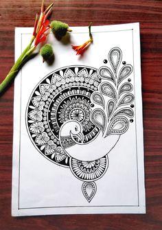 Mandala Art Therapy, Mandala Art Lesson, Mandala Artwork, Mandala Painting, Doodle Art Drawing, Mandala Drawing, Peacock Drawing, Peacock Art, Zantangle Art